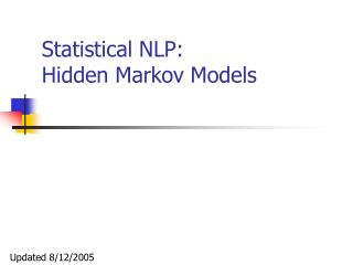 Statistical NLP: Hidden Markov Models