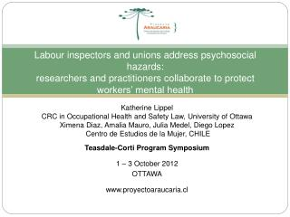 Katherine Lippel CRC in Occupational Health and Safety Law, University of Ottawa