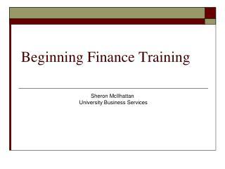 Beginning Finance Training