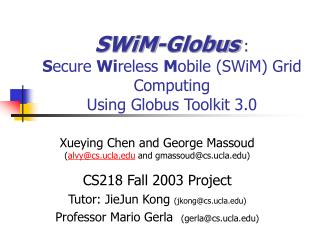 SWiM-Globus : S ecure  Wi reless  M obile (SWiM) Grid Computing Using Globus Toolkit 3.0