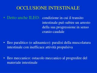 OCCLUSIONE INTESTINALE