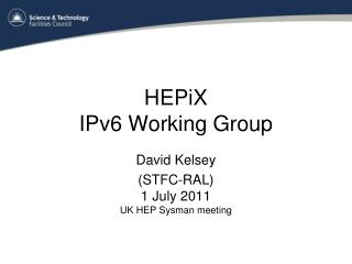 HEPiX  IPv6 Working Group