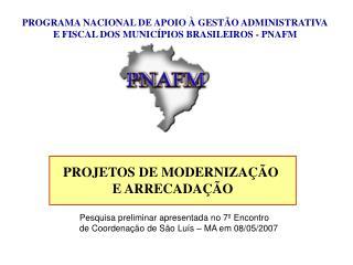 PROGRAMA NACIONAL DE APOIO À GESTÃO ADMINISTRATIVA E FISCAL DOS MUNICÍPIOS BRASILEIROS - PNAFM