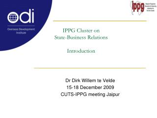 IPPG Cluster on State-Business Relations  Introduction