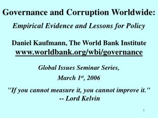 Governance and Corruption Worldwide: Empirical Evidence and Lessons for Policy