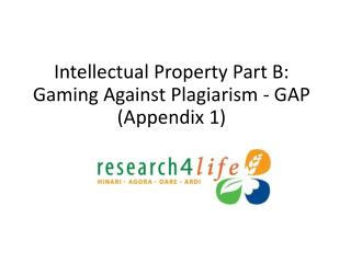 Intellectual Property Part B: Gaming Against Plagiarism - GAP (Appendix 1)