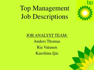 Top Management Job Descriptions
