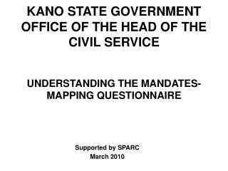 KANO STATE GOVERNMENT OFFICE OF THE HEAD OF THE CIVIL SERVICE