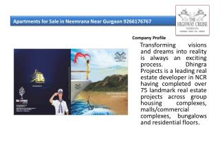 Apartments for Sale in Neemrana Near Gurgaon 9266176767