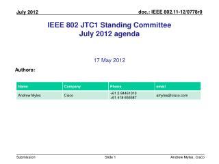 IEEE 802  JTC1  Standing Committee July 2012 agenda