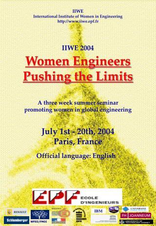 IIWE International Institute of Women in Engineering iiwe.epf.fr IIWE 2004