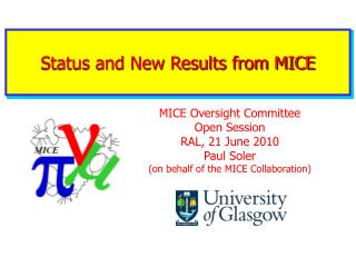Status and New Results from MICE