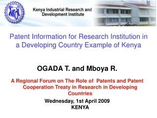 Patent Information for Research Institution in a Developing Country Example of Kenya