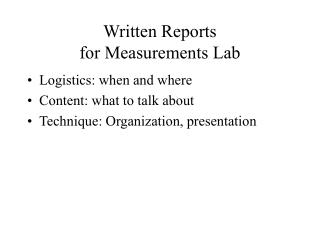 Written Reports for Measurements Lab