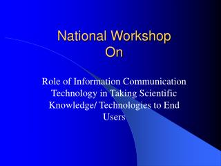 National Workshop On