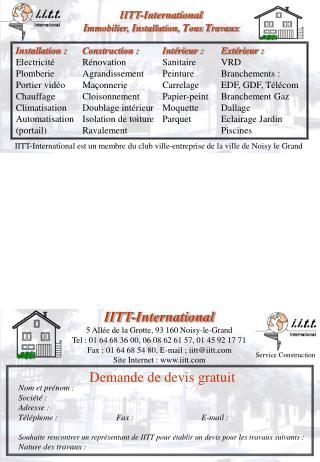 IITT-International I mmobilier,  I nstallation,  T ous  T ravaux