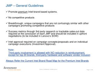 JMP – General Guidelines