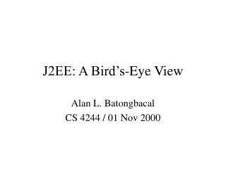 J2EE: A Bird�s-Eye View
