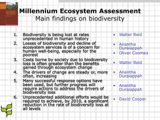 Millennium Ecosystem Assessment Main findings on biodiversity