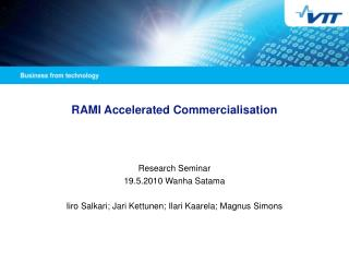RAMI Accelerated Commercialisation