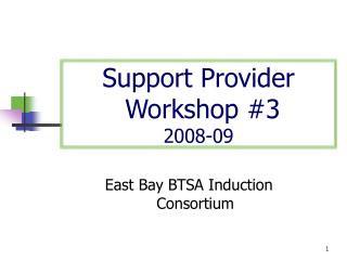 Support Provider  Workshop #3 2008-09