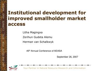 Institutional development for improved smallholder market access