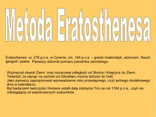 Metoda Eratosthenesa