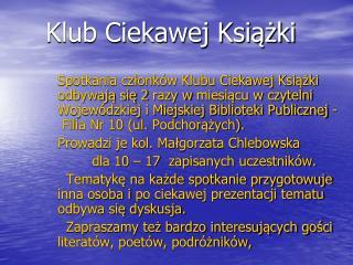 Klub Ciekawej Książki