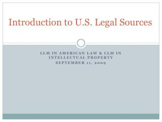 Introduction to U.S. Legal Sources