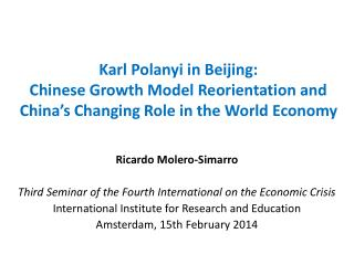 Ricardo  Molero - Simarro Third Seminar of the Fourth International on the Economic Crisis