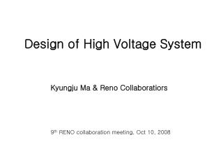 Design of High Voltage System