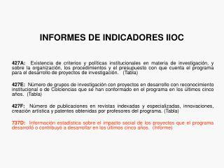 INFORMES DE INDICADORES IIOC
