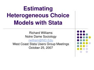 Estimating Heterogeneous Choice Models with Stata