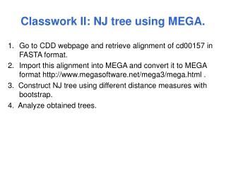 Classwork II: NJ tree using MEGA.