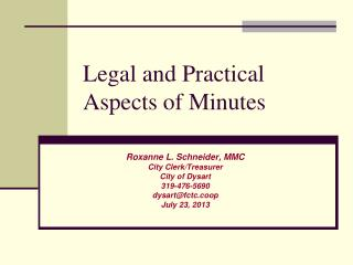 Legal and Practical Aspects of Minutes