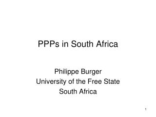 PPPs in South Africa