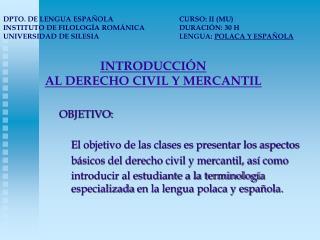 INTRODUCCIÓN  AL DERECHO CIVIL Y MERCANTIL