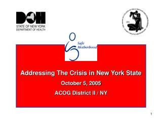 Addressing The Crisis in New York State October 5, 2005 ACOG District II / NY