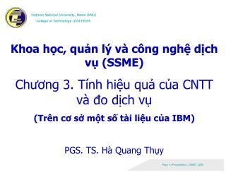 Khoa học, quản lý và công nghệ dịch vụ (SSME) Chương 3. Tính hiệu quả của CNTT và đo dịch vụ