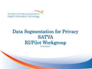 Data Segmentation for Privacy  SATVA  RI/Pilot Workgroup 01/03/2013