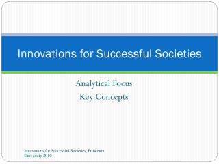 Innovations for Successful Societies