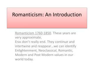 Romanticism: An Introduction