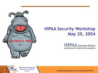 HIPAA Security Workshop  May 20, 2004