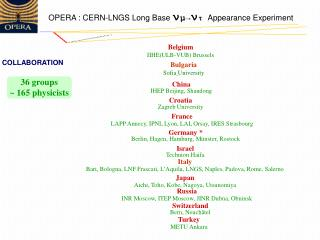 OPERA : CERN-LNGS Long Base  ν μ → ν τ Appearance Experiment