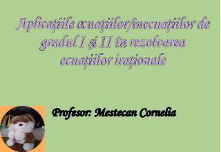 Profesor :  Mestecan  Cornelia