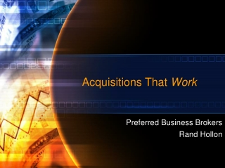 Acquisitions That Work