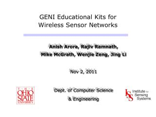 GENI Educational Kits for                      Wireless Sensor Networks