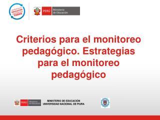 Criterios para el monitoreo pedagógico. Estrategias para el monitoreo pedagógico