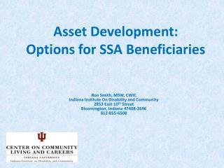 Asset Development:  Options for SSA Beneficiaries