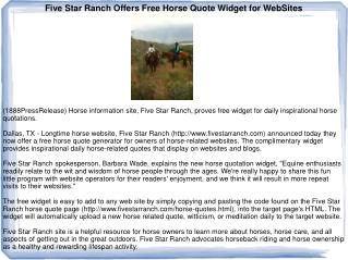 Five Star Ranch Offers Free Horse Quote Widget for WebSites